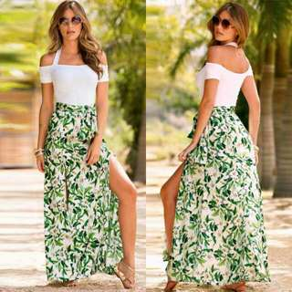 Tropical Terno Skirt with double slit