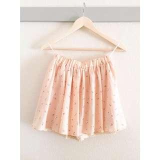 🚚 🇯🇵COLZA花紋雪紡蕾絲褲裙-S