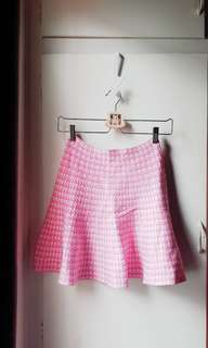 Short skirt houndstooth in milky pink