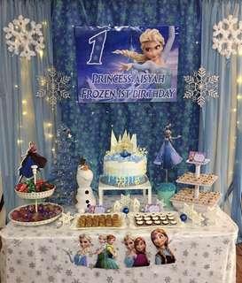 Birthday Backdrop & Cake Table Frozen Theme Party