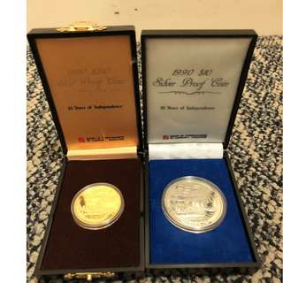1990 Singapore NDP 25 Years of Independence Gold and Silver Coins - Very Rare