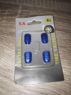 Tire valve aluminum blue