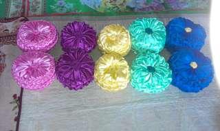 bantal hiasan kereta atau ruang tamu  / handmade satin silk round cushion pillow