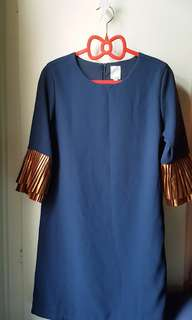 Royal blue Dress with beautiful golden tan arm layers