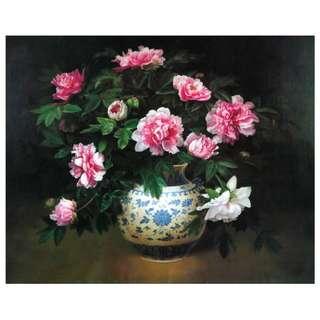 Flower Vase Oil Painting Framed