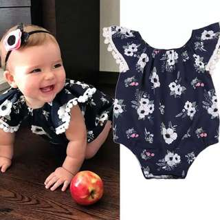 Instock - blue floral romper, baby infant toddler girl children sweet kid happy abcdefgh so pretty