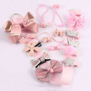 Instock - 18pcs hair accessories, baby infant toddler girl children sweet kid happy abcdefgh so pretty