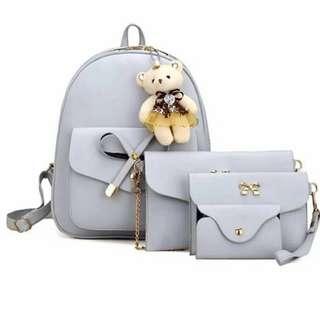 5 in 1 Set Korean Fashion Trendy Backpack Black Pink White High Quality