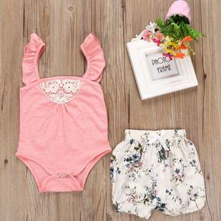 Instock - 2pc sweet floral pink set, baby infant toddler girl children sweet kid happy abcdefgh so pretty