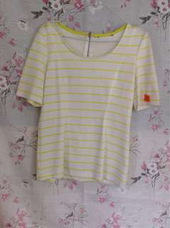 Striped neon light green and white blouse, 3/4 sleeves