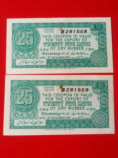 Rare.penang islands rubber coupon 25 pickul dtd.31dec1941,2consec run in unc but slightly stained