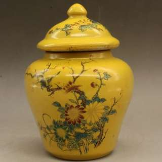 Yellow flower vase 黄釉粉彩菊花小将军罐