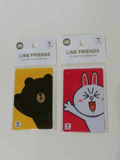 (買2張有9折) 韓國 最新 Pokémon,  Line Friends x T money 交通卡