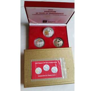 2005 Singapore NDP 40 Years of Independence 3 in 1 Premium Coin Set - Very Rare