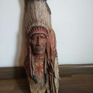 Wooden Crafted Red Indian Face