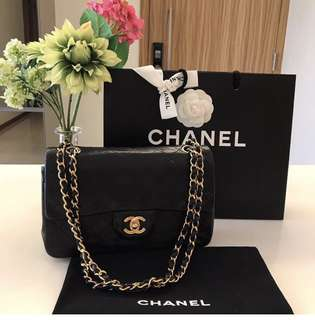 Authentic small classic flap Chanel bag in lambskin
