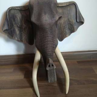 Wooden elephant head