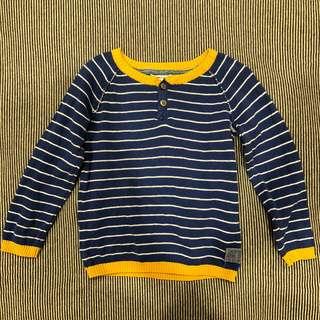 🚚 韓版男寶寶長袖條紋撞色針織上衣 - 藍/18~24M