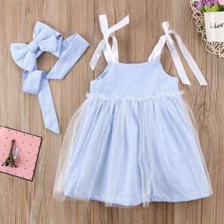 Instock - 2pc blue tulle dress set, baby infant toddler girl children sweet kid happy abcdefgh so pretty