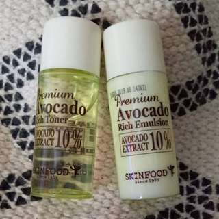 SKINFOOD AVOCADO EMULSION AND TONER