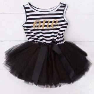 Instock - 1st black birthday dress, baby infant toddler girl children cute glad 123456789