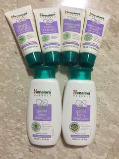 Himalaya herbals baby cream 15g, nappy rash cream 15g, gently baby shampoo 40ml, baby lotion $3