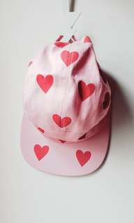 Lazy oaf cap heart print in milky pink