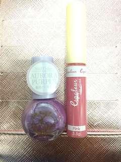 Lipgloss Daiso (free nail polish)