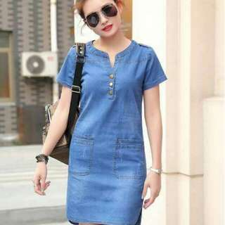 🎀POSTED ACTUAL PHOTO'S🎀 🌷korean inspired  🍇denim korean dress 💖with 2 side pocket ✔single color available  🎀soft denim fabric (high'quality) ✏️ freesize only!! (small to large frame fit)      350php      #RLE