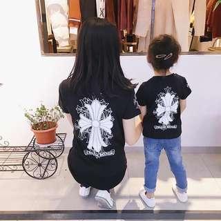 🚚 【夏➤親子裝】純色十字架T恤&寶寶三角爬服