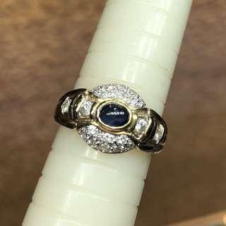 14K sapphire diamond ring 鑽石藍寶石戒指
