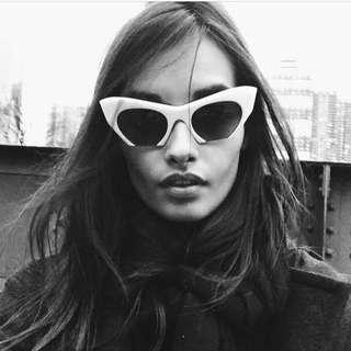 Rasoir Cutoff Semi Rimless Cat Eye Sunglasses