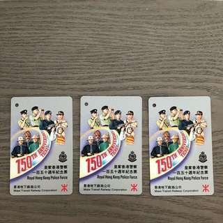 皇家香港警察150 週年(1844-1994)紀念車票3張