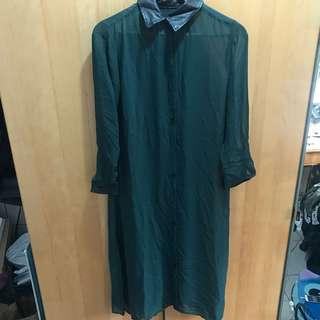 🚚 墨綠色 超長 雪紡襯衫外套 罩衫