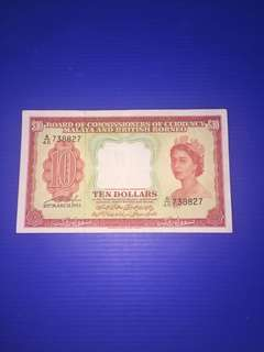 Malaya $10 year 1953 😱Shift Error@ the back😱