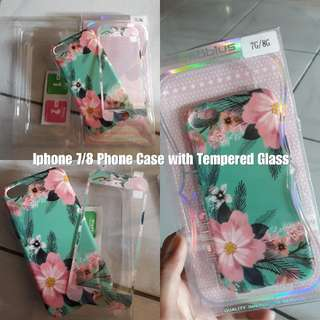 Repriced: Iphone 7/8 Phone Case with Tempered Glass