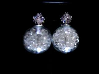 White Crystal Globe Earrings