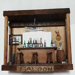 Vintage Miniature Wood Saloon Model