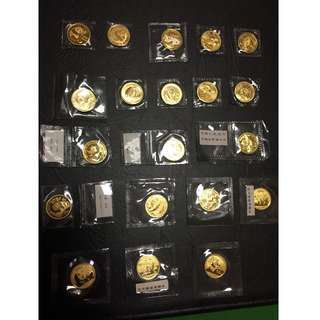 China 1/4oz Gold Pandas - 23 Coins of Various Years - Total 5.75oz Pure Gold!
