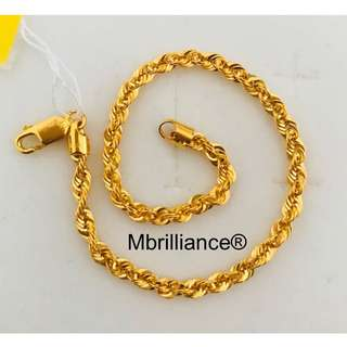 Rope bracelet  916 Yellow Gold by Mbrilliance