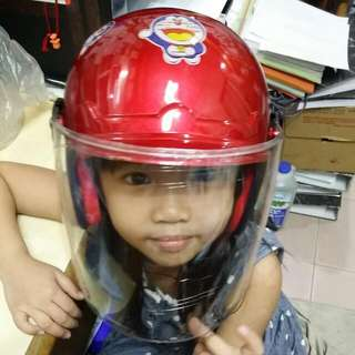 Topi Keledar Kanak Kanak  Kid Children Helmet Merah Red With Visor Doreamon