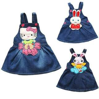 Hello Kitty Girls Dress Cartoon Embroidered Baby Girl Dress