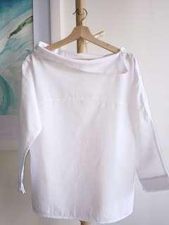 Asymmetric collar white cotton top free size