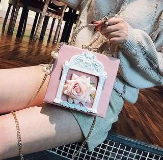 2018韓國新款立體花朵斜揹袋/手挽袋