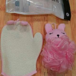 Sarung tangan n shower puff pink rabbit