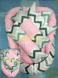 baby nest minky chevron pink