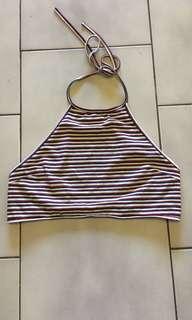 Striped tie up Crop.
