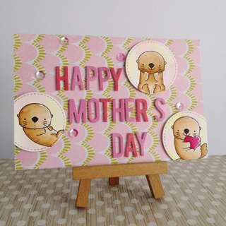 Handmade mother's day card - otter holding heart - family of otters