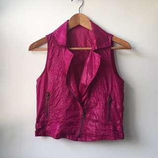 Fuschia/magenta biker style vest
