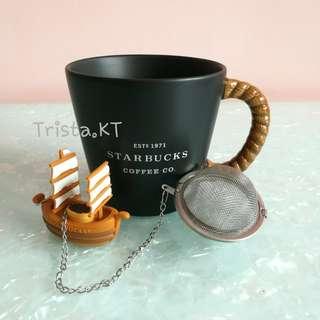 STARBUCKS Ceramic Mug with Boat Tea Strainer